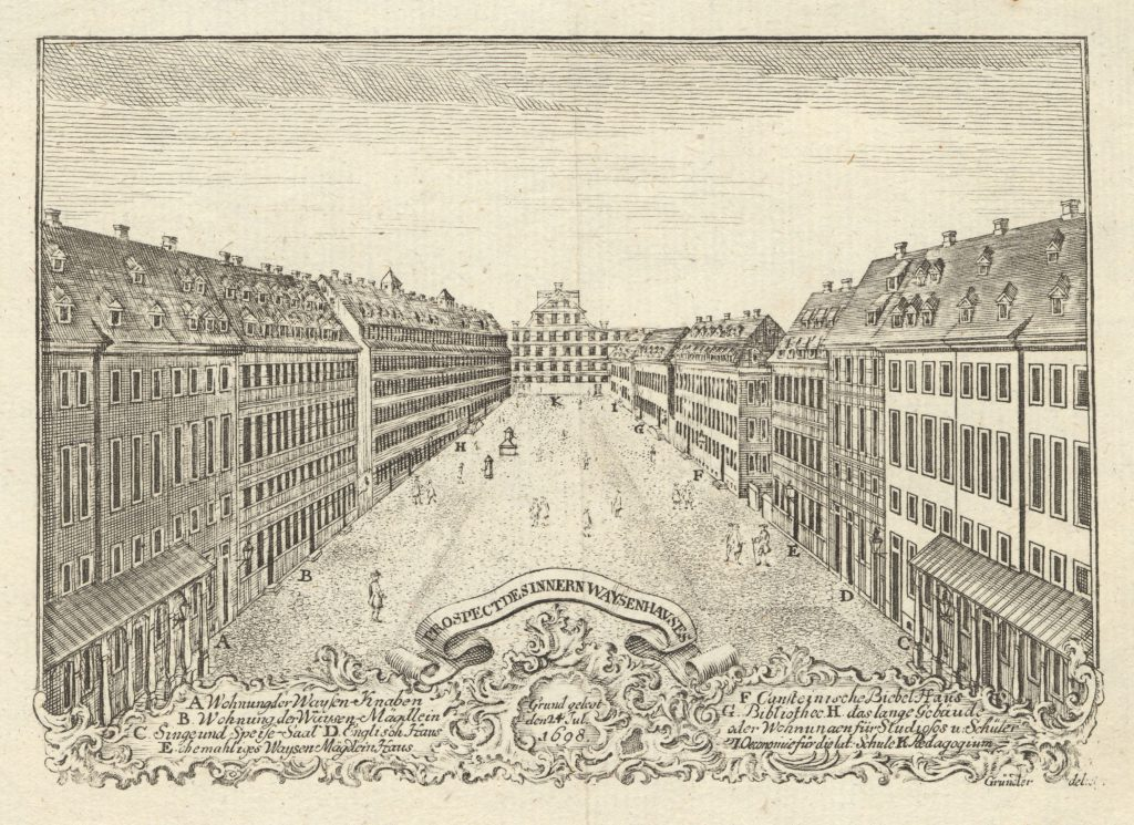 Engraving of the Lindenhof of the Francke Foundations of 1698